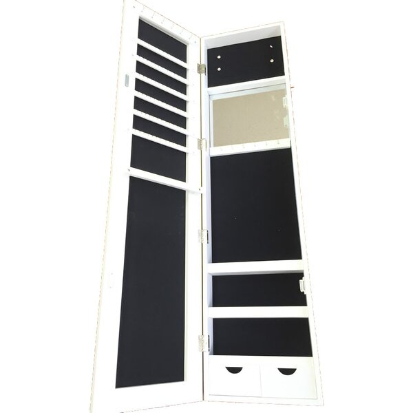 Frameless Over the Door Jewelry Armoire with Mirror by Famis Corp