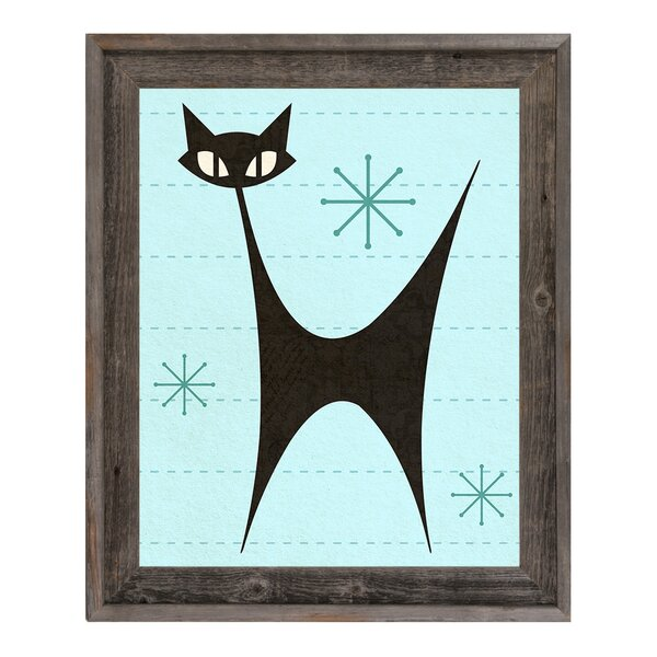 Retro Chat Noir Cyan Framed Graphic Art on Canvas by Click Wall Art