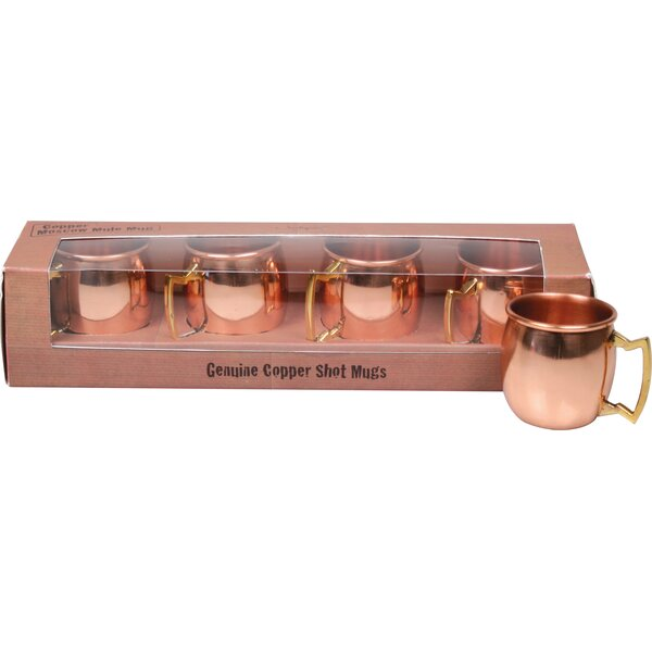2 oz. Moscow Mule Copper Shot Mug with Brass Handle (Set of 4) by Jodhpuri