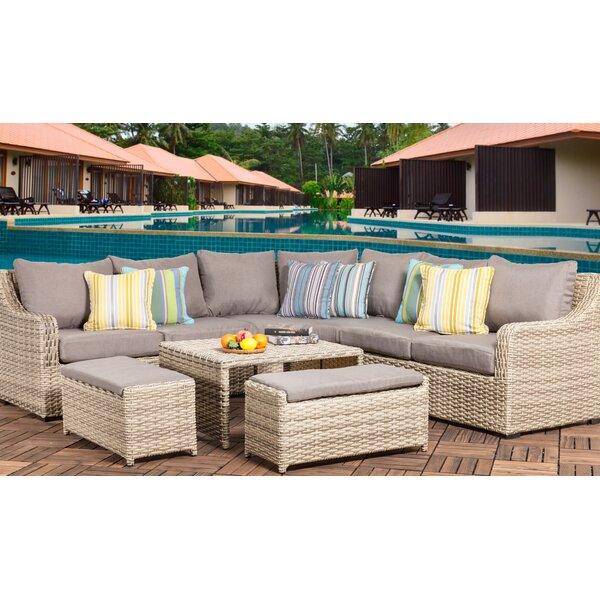 Crowe 6 Piece Rattan Sectional Seating Group with Cushions by Rosecliff Heights