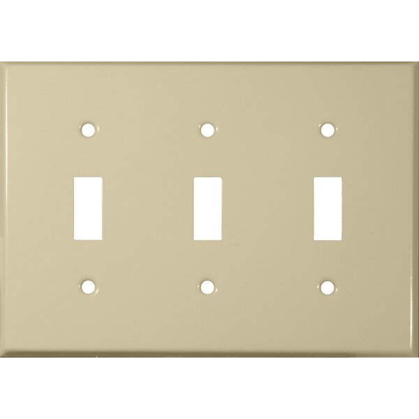 Three Gang and Toggle Switch Metal Wall Plates in Ivory by Morris Products