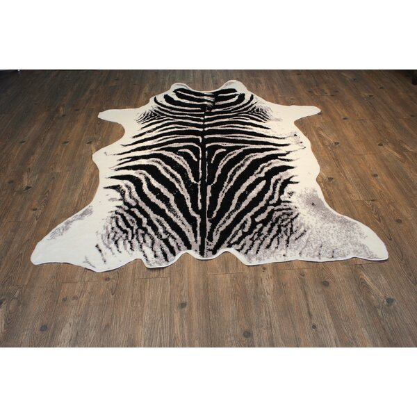 Faux Cowhide Black/White Area Rug by Rug Factory Plus