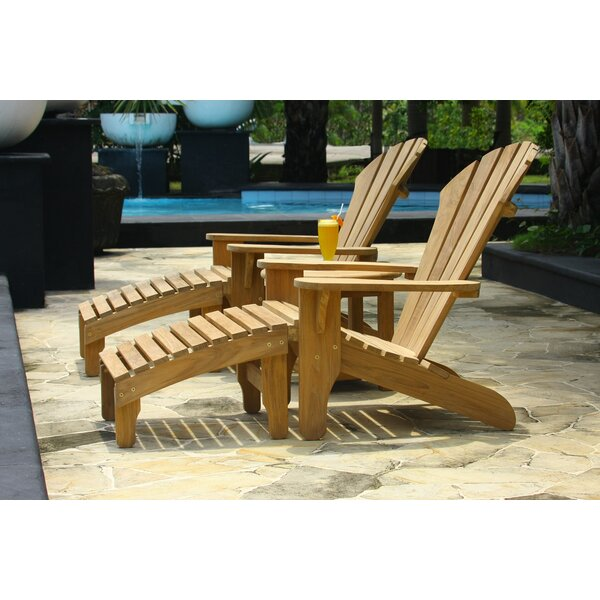 Atlantic Teak Adirondack Chair with Ottoman by Douglas Nance
