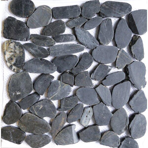 12 x 12 Natural Stone Pebble Tile in Black by Islander Flooring