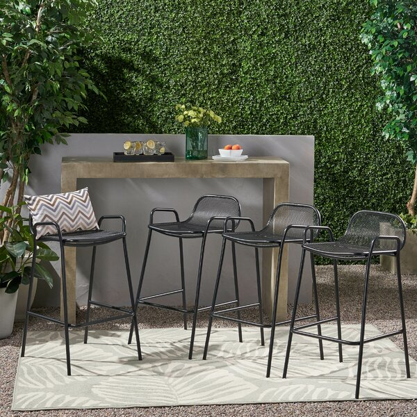 Courtney Iron 28.75-inch Patio Bar Stool (Set Of 4) By Williston Forge
