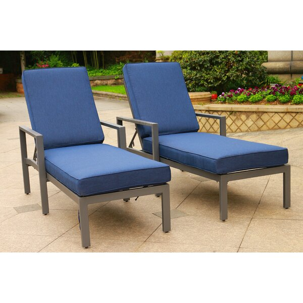 Hearne Outdoor Adjustable Sun Lounger Set with Cushions (Set of 2) by Orren Ellis