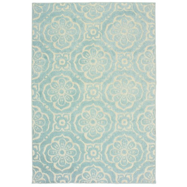 Fluellen Floral Medallions Blue Indoor/Outdoor Area Rug by Bungalow Rose