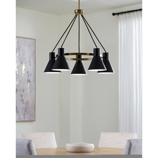 Alton 5-Light Shaded Wagon Wheel Chandelier by 17 Stories 17 Stories