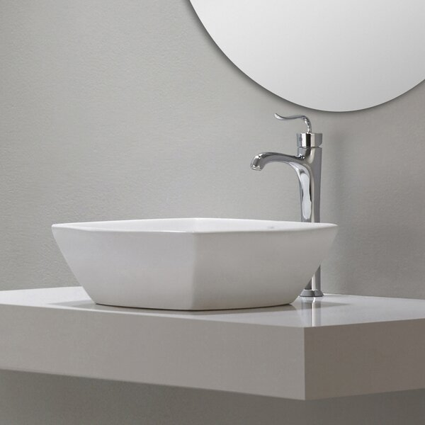 Elavo Ceramic Square Vessel Bathroom Sink by Kraus