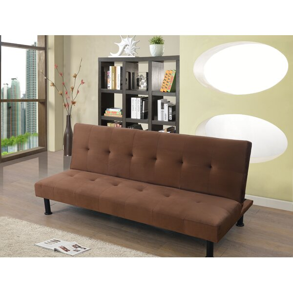 Goldie Faux Leather Convertible Sofa by Ebern Designs