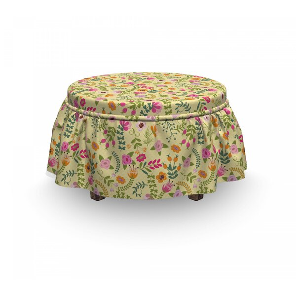 Doodle Flowers Ottoman Slipcover (Set Of 2) By East Urban Home