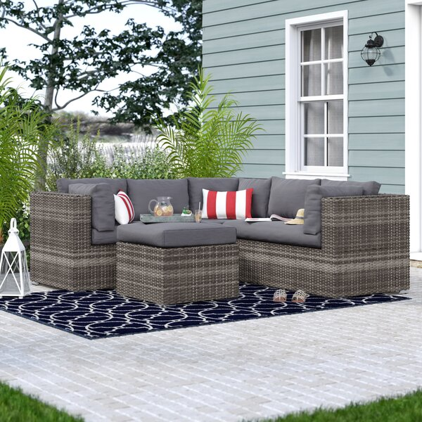 Evart 4 Piece Rattan Sectional Seating Group with Cushions by Beachcrest Home