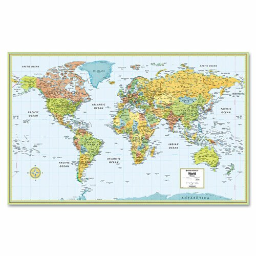 Hammond Deluxe Laminated Political World Map, Dry Erase, 50 x 32 by American Map Company