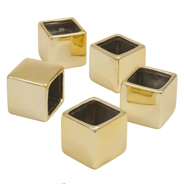Sheredan Metallic Square Favor Flower Pot Planter (Set of 5) by Mercer41
