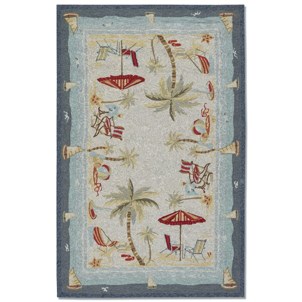 Rundall Water Resistant Hand-Hooked Beige Indoor/Outdoor Area Rug By Highland Dunes