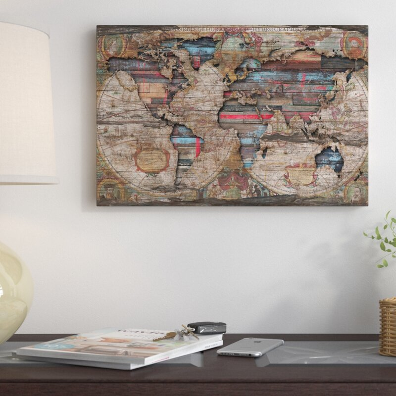 East Urban Home \'Distressed World Map\' Graphic Art Print on Canvas ...