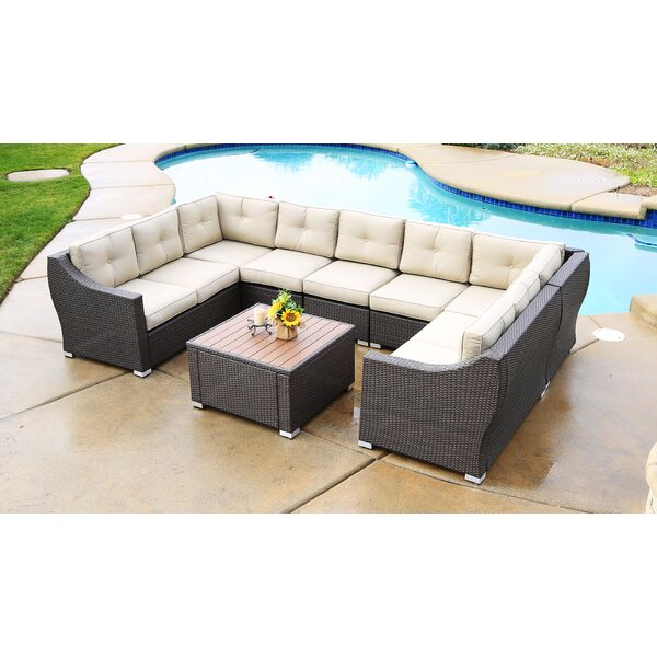 Lanclos 8 Piece Sectional Seating Group with Cushions by Alcott Hill