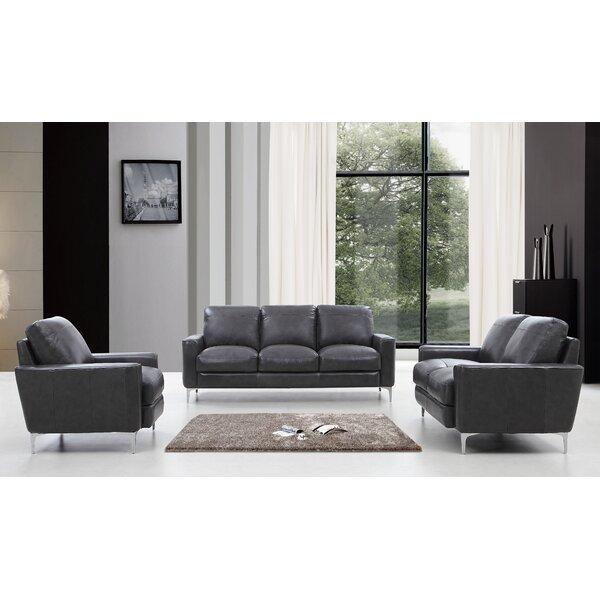 Mckinney Modern 3 Piece Leather Living Room Set by Orren Ellis