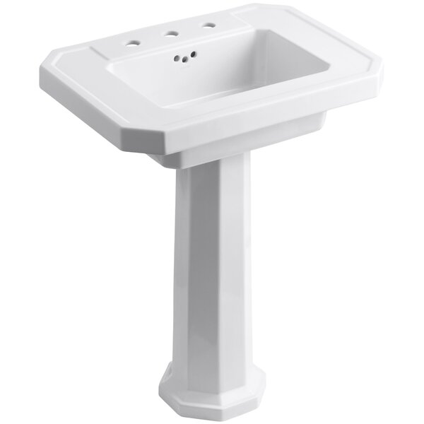 Kathryn Ceramic 27 Pedestal Bathroom Sink with Overflow by Kohler