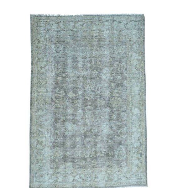 One-of-a-Kind Le Sirenuse Hand-Knotted Silver Blue Area Rug by Canora Grey
