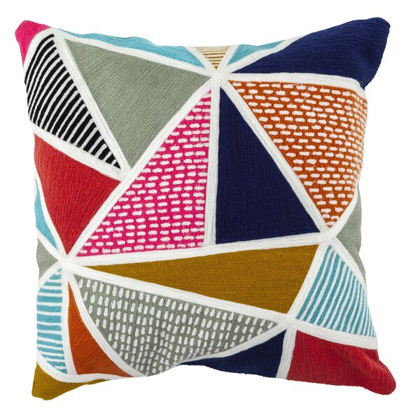 Nolasco Embroidered Triangles Outdoor Throw Pillow
