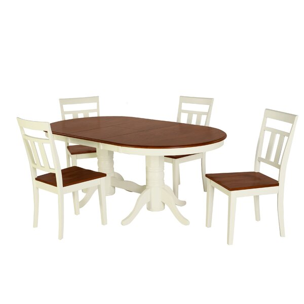 Bellino 5 Piece Drop Leaf Solid Wood Dining Set by August Grove