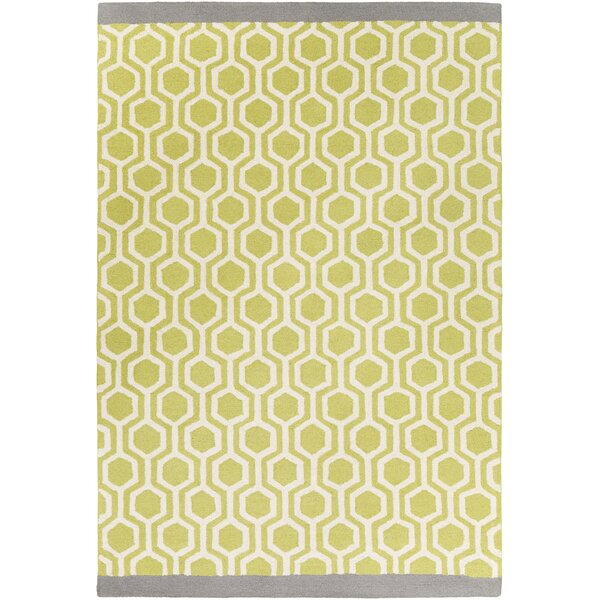 Blitar Hand-Crafted Lime/Gray Area Rug by Wrought Studio
