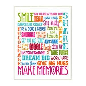 Seth Smile Make Memories Rainbow Typography Wall Plaque by Viv + Rae