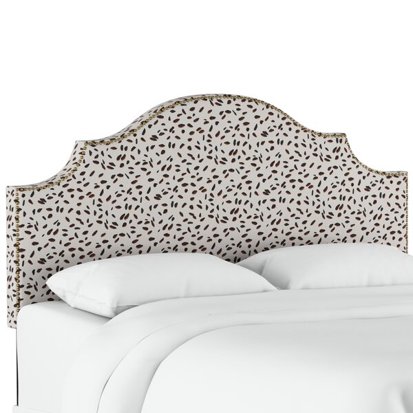 Vernita Nail Button Notched Neo Leo Upholstered Panel Headboard by Wrought Studio