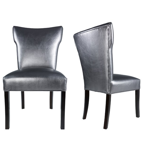 Cresson Vinyl Upholstered Contemporary Side Chair (Set of 2) by Everly Quinn Everly Quinn