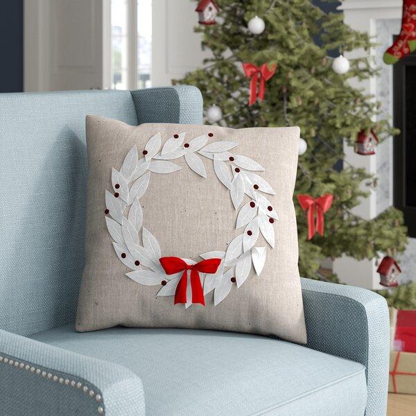 Divernon Poinsettia Wreath Throw Pillow by Three Posts