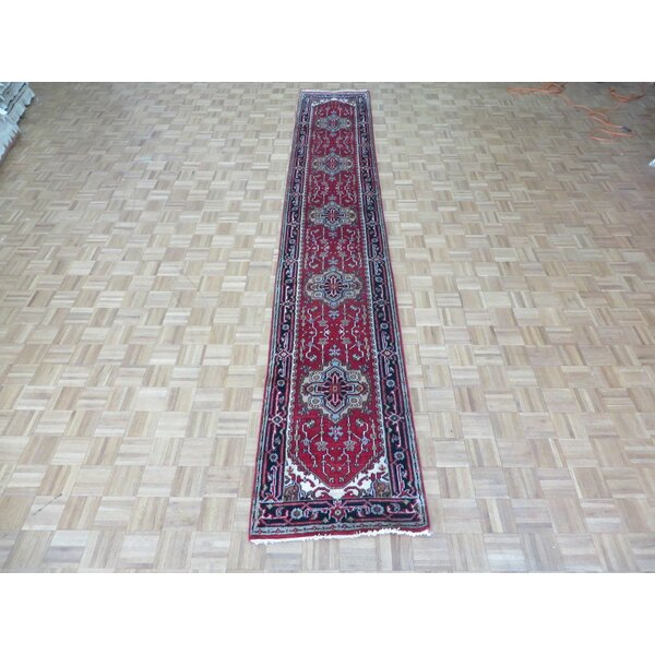 One-of-a-Kind Pellegrino Serapi Heriz Hand-Knotted Brick Red Area Rug by Bloomsbury Market