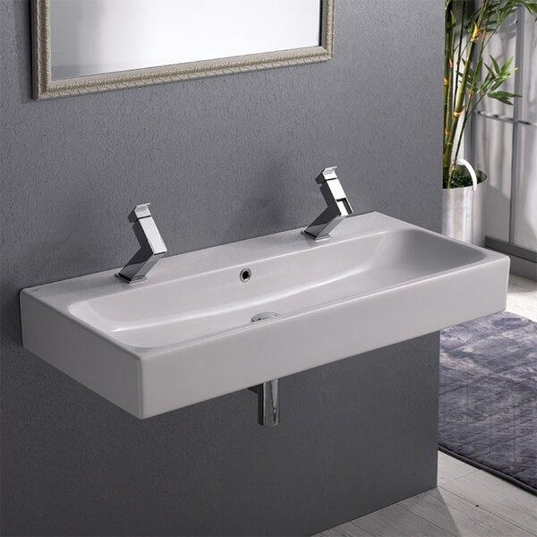 Pinto Ceramic Rectangular Vessel Bathroom Sink with Overflow