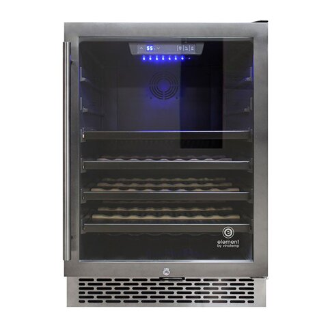 53 Bottle Stainless Steel Single Zone Built-In Wine Cooler by Vinotemp