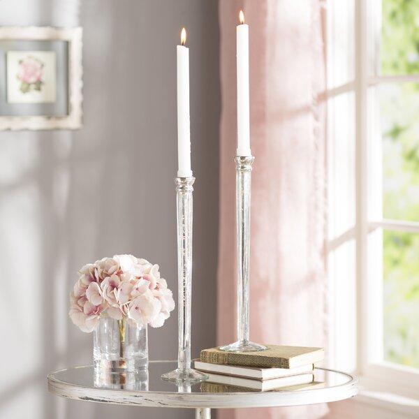 Pin Stick Glass Candlestick (Set of 2) by Lark Manor