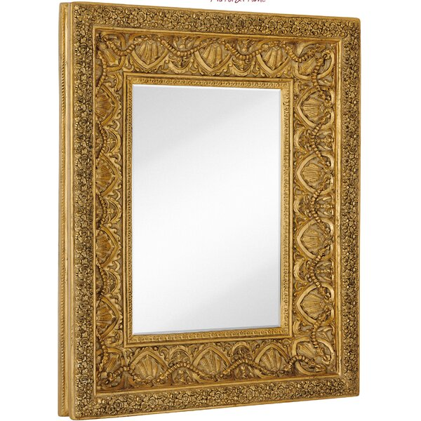 Large Traditional Bright Gold Leaf Rectangular Beveled Glass Wall Mirror by Majestic Mirror