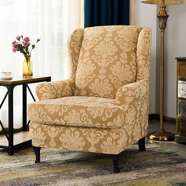 Elegant T-Cushion Wingback Slipcover By Winston Porter