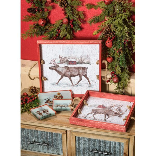Felan Santa's Reindeer Ranch 2 Piece Accent Tray Set by The Holiday Aisle
