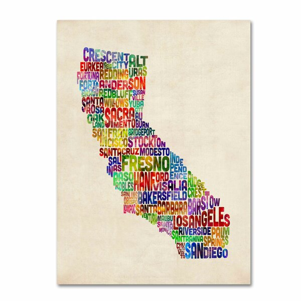 California Text Map by Michael Tompsett Framed Textual Art on Wrapped Canvas by Trademark Fine Art