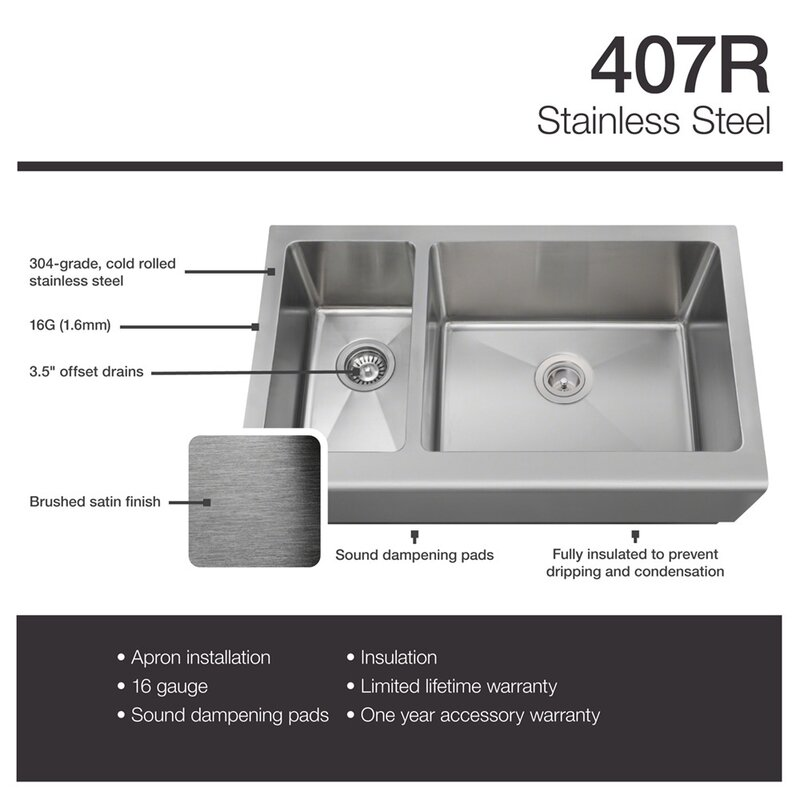 stainless steel 33   x 20   farmhouse apron undermount kitchen sink with additional accessories mrdirect stainless steel 33   x 20   farmhouse apron undermount      rh   wayfair com