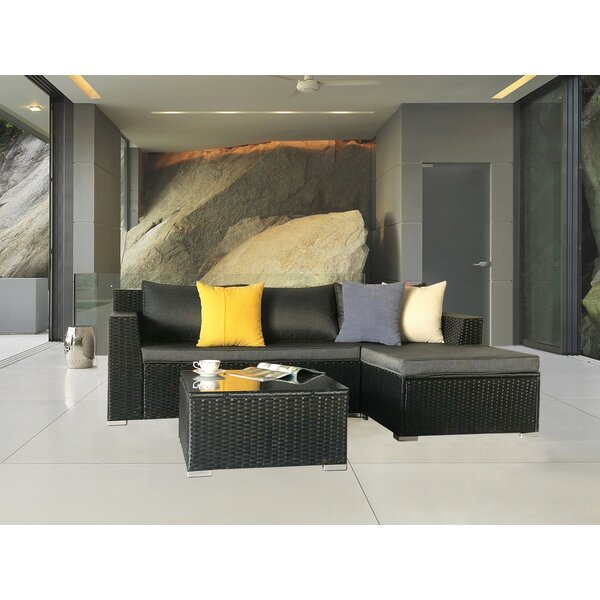 Teagan 3 Piece Rattan Sectional Seating Group Set By Brayden Studio