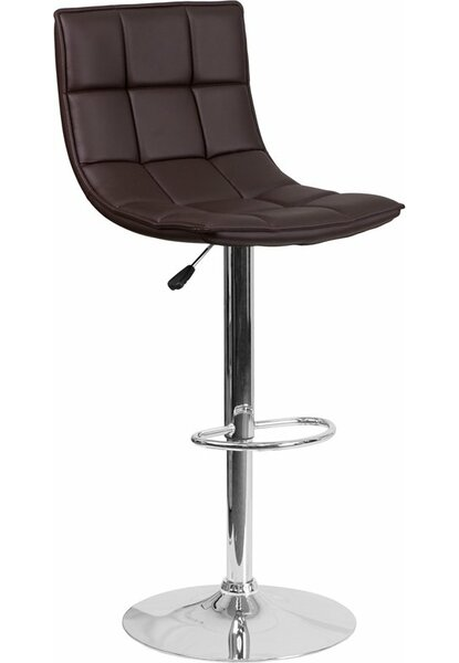 Whelan Mid Back Curved Quilted Adjustable Height Swivel Bar Stool by Orren Ellis