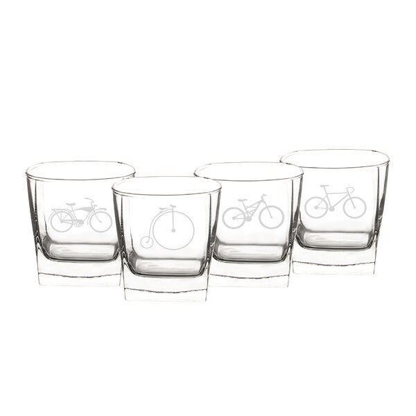 10.5 Oz. Bicycle Rocks Glasses (Set of 4) by Cathys Concepts