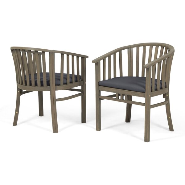 Thacker Outdoor Teak Patio Dining Chair With Cushion (Set Of 2) By Rosecliff Heights