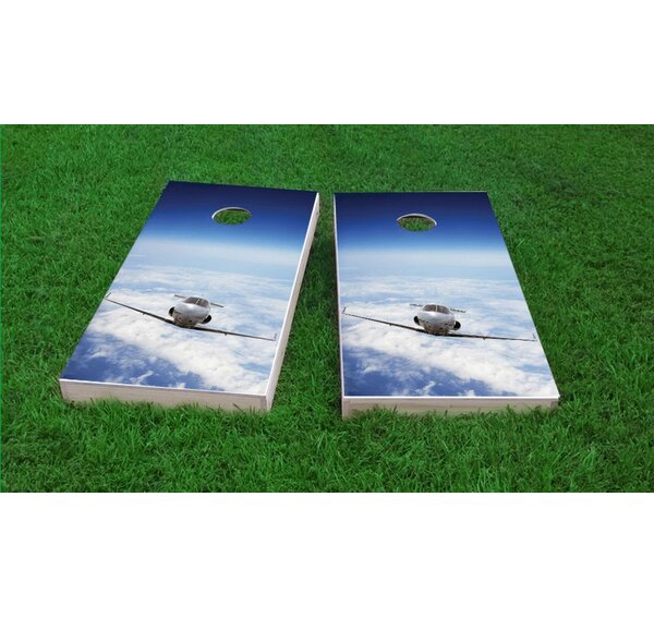 Private Jet Flying Above The Clouds Light Weight Cornhole Game Set by Custom Cornhole Boards