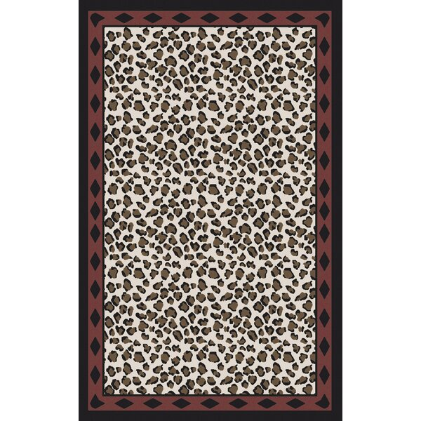 Marigold Ivory/Black Animal Print Area Rug by Bloomsbury Market
