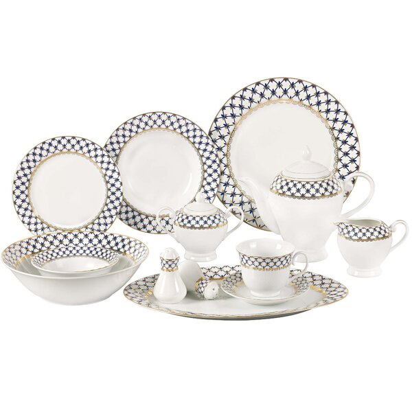 Jeanette 57 Piece Porcelain Dinnerware Set, Service for 8 by Lorren Home Trends