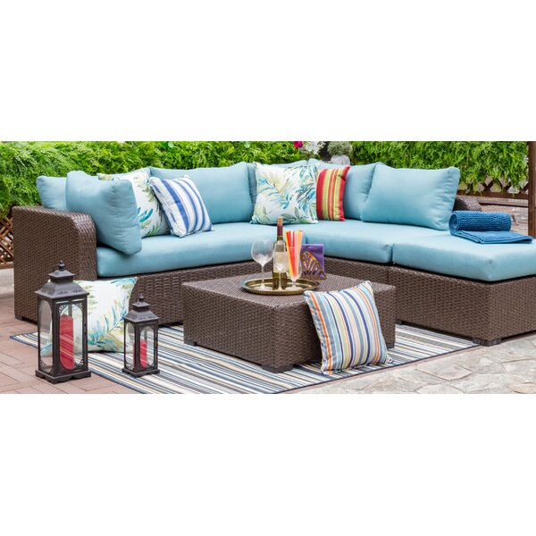 Outdoor 4 Piece Wicker Sectional Seating Group with Cushions by Living Express