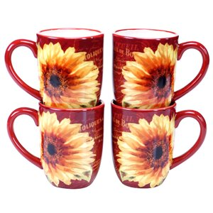 Paris Sunflower 18 oz. Mug (Set of 4)
