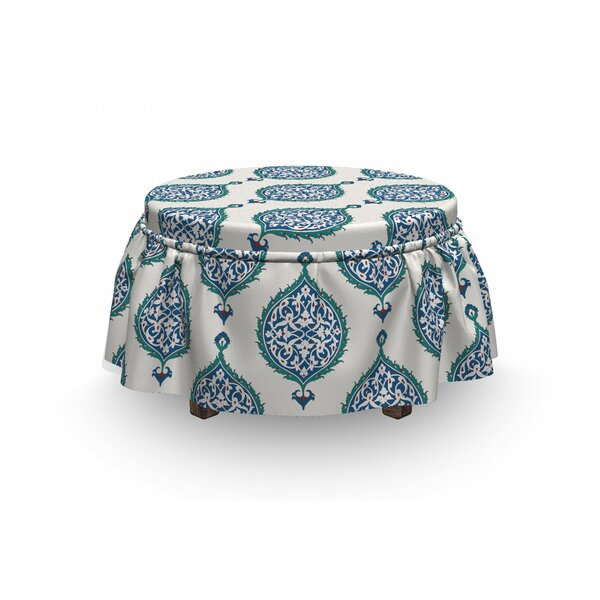 Turkish Curly Leaves 2 Piece Box Cushion Ottoman Slipcover Set By East Urban Home